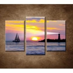 Obrazy na stenu - Maják pri západe slnka - 3dielny 75x50cm