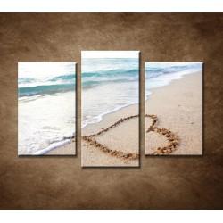 Obrazy na stenu - Srdce na pláži - 3dielny 75x50cm