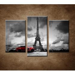 Obrazy na stenu - Retro auto v Paríži - 3-dielny 75x50cm