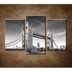 Obrazy na stenu - Červený autobus na Tower Bridge - 3-dielny 75x50cm