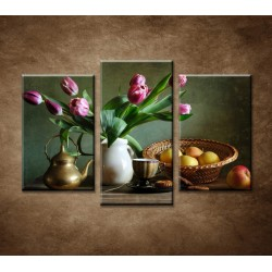 Obrazy na stenu - Zátišie s tulipánmi a jablkami - 3-dielny 75x50cm