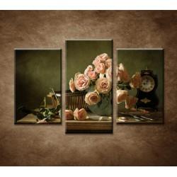 Obrazy na stenu - Ruže a hodiny - 3-dielny 75x50cm