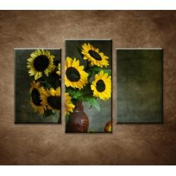 Obrazy na stenu - Slnečnicové zátišie - 3-dielny 75x50cm