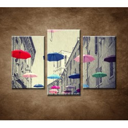 Obrazy na stenu - Farebné dáždniky - 3-dielny 75x50cm