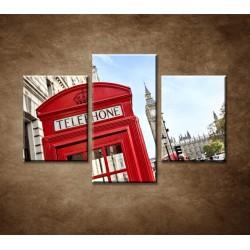 Obrazy na stenu - Telefónna búdka - 3dielny 90x60cm