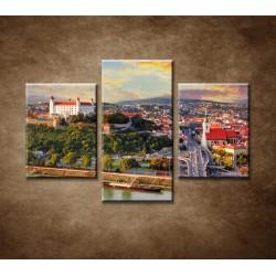 Obrazy na stenu - Západ slnka nad Bratislavou - 3dielny 90x60cm