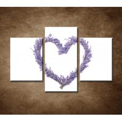 Obrazy na stenu - Levanduľové srdce - 3dielny 90x60cm