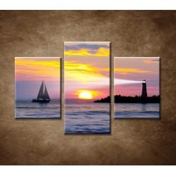 Obrazy na stenu - Maják pri západe slnka - 3dielny 90x60cm