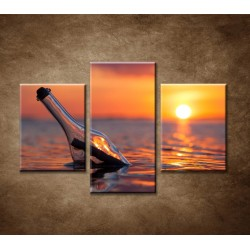 Obrazy na stenu - Fľaša v mori - 3dielny 90x60cm