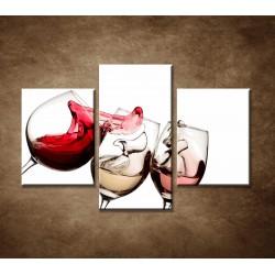 Obrazy na stenu - Tri druhy vína- 3dielny 90x60cm
