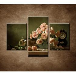 Obrazy na stenu - Ruže a hodiny - 3dielny 90x60cm