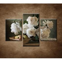 Obrazy na stenu - Pivonky a jablká - 3dielny 90x60cm