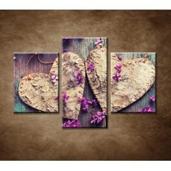 Obrazy na stenu - Drevené srdiečka - 3dielny 90x60cm