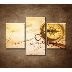 Obrazy na stenu - Starý kompas - 3dielny 90x60cm