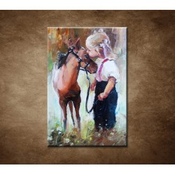 Obrazy na stenu - Olejomaľba - Dievčatko a poník