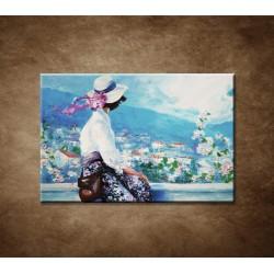 Obrazy na stenu - Olejomaľba - Žena na terase