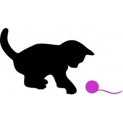 Nálepka na stenu - Mačiatko s klbkom