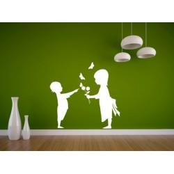 Nálepka na stenu - Chlapček a dievčatko