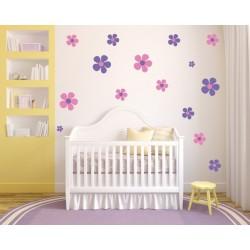 Nálepka na stenu - Veselé kvety - dvojfarebné - set 42 kusov