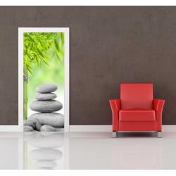 Nálepka na dvere - Kamene s bambusom