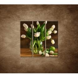 Obraz na stenu - Tulipány vo váze - zátišie - 3dielny 90x90cm