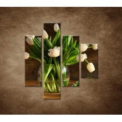 Obrazy na stenu - Tulipány vo váze - zátišie - 4dielny 80x90cm