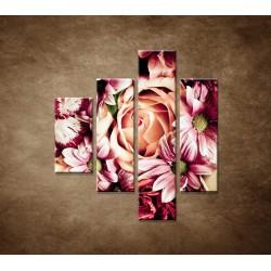 Obrazy na stenu - Kytica kvetov - 4dielny 80x90cm