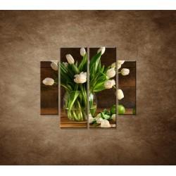 Obrazy na stenu - Tulipány vo váze - zátišie - 4dielny 100x90cm